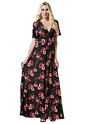 preiswerte -Damen Übergrössen Boho Schlank Hülle Kleid - Druck, Geometrisch Maxi V-Ausschnitt
