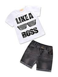 cheap -Boys' Daily Holiday Print Clothing Set, Cotton Polyester Summer Short Sleeves Active Basic White