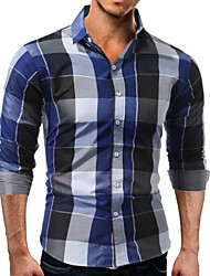 cheap -Men's Slim Shirt - Plaid