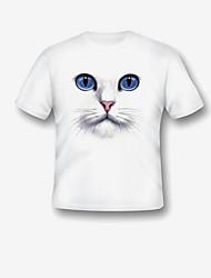 abordables -Fille Quotidien Vacances Imprimé Tee-shirts, Modal Polyester Eté Manches Courtes Mignon Actif Bleu Vert Blanc Rouge Violet