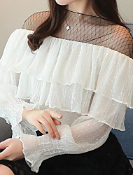 baratos -Mulheres Camiseta - Feriado / Trabalho Moda de Rua Renda, Estampa Colorida Gola Redonda / Primavera / Verão / Frufru