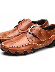 Недорогие -Муж. Обувь для вождения Кожа Весна / Осень Туфли на шнуровке Черный / Темно-красный / Темно-русый