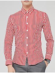 cheap -Men's Daily / Work Basic Cotton / Polyester Shirt - Striped / Long Sleeve
