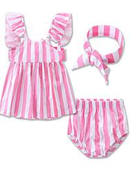 cheap -Baby Girls' Stripes Sports / Beach Striped Sleeveless Cotton Clothing Set / Toddler