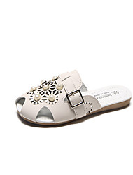 cheap -Women's Shoes PU Summer Comfort Slippers & Flip-Flops Low Heel Round Toe Rhinestone for White Beige