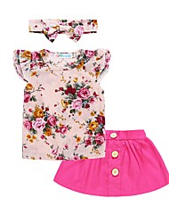 cheap -Girls' Daily Holiday Floral Clothing Set, Cotton Polyester Spring Summer Short Sleeves Cute Active Blushing Pink