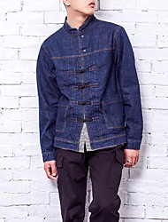 cheap -Men's Basic Denim Jacket-Solid Colored,Oversized