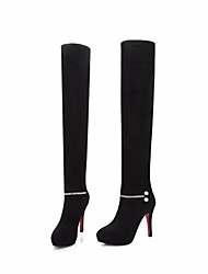 cheap -Women's Shoes Nubuck leather Fall Winter Fashion Boots Boots Stiletto Heel Over The Knee Boots for Black Red