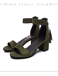 cheap -Women's Shoes PU Spring / Summer Comfort Sandals Chunky Heel Open Toe Imitation Pearl for Dress Black / Army Green