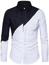 Недорогие -Муж. Рубашка Хлопок Тонкие Классический Контрастных цветов / Длинный рукав