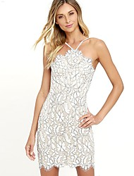 cheap -Women's Club Cotton Skinny Bodycon Dress - Solid Colored Lace Backless Halter