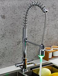 Недорогие -кухонный смеситель - Две ручки одно отверстие Хром Выдвижная / Выпадающий / Стандартный Носик / Высокий / High Arc По центру Современный Kitchen Taps
