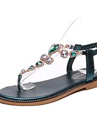 baratos -Mulheres Sapatos Couro Ecológico Verão / Outono Tira em T Sandálias Caminhada Sem Salto Dedo Apontado / Dedo Aberto Pedrarias Preto / Azul