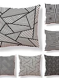 cheap -6 pcs Textile Cotton / Linen Pillow case Pillow Cover, Lines / Waves Geometric Pattern Contemporary Art Deco / Retro High Quality