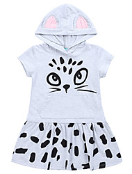 cheap -Girl's Daily Holiday Print Dress, Cotton Spring Summer Short Sleeves Vintage Active Blue