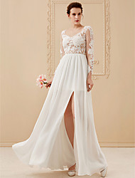 cheap -A-Line / Princess Scoop Neck Floor Length Chiffon / Lace / Tulle Made-To-Measure Wedding Dresses with Beading / Appliques by LAN TING