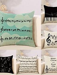 cheap -6 pcs Cotton/Linen Pillow Case Novelty Pillow Pillow Cover, Music Letter Quotes & Sayings Creative Musician