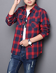 cheap -Boys' Daily Plaid Shirt, Cotton Polyester Spring Fall Long Sleeves Basic Green Red Gray