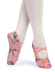 Недорогие -Девочки Обувь для балета Полотно На плоской подошве Бант На плоской подошве Персонализируемая Танцевальная обувь Розовый / В помещении