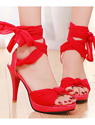 cheap -Women's Shoes Nubuck leather Summer Comfort / Basic Pump Sandals Stiletto Heel Black / Red / Blue / Lace up