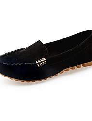 povoljno -Žene Cipele Nubuk koža Proljeće Jesen Mokasine Udobne cipele Natikače i mokasinke Ravna potpetica za Kauzalni Crn Bijela Fuksija