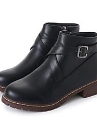baratos -Mulheres Sapatos Couro Ecológico Outono Inverno Curta / Ankle Botas Salto Robusto Botas Curtas / Ankle para Casual Preto Cinzento