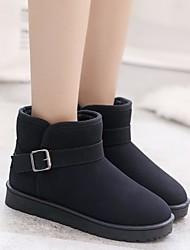 baratos -Mulheres Sapatos Pele Nobuck Inverno Conforto / Botas de Neve Botas Sem Salto Botas Curtas / Ankle Preto / Cinzento / Khaki