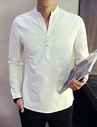 Недорогие -Муж. Рубашка Шинуазери (китайский стиль) Однотонный / Длинный рукав