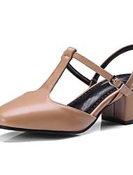 abordables -Femme Chaussures Similicuir Printemps / Eté Salomé Sandales Golf Shoes Talon Bottier Bout carré Boucle Noir / Marron / Amande