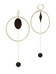 Недорогие -Жен. несовместимый / Длиные Серьги-кольца - Позолота 18К европейский, Крупногабаритные Черный Назначение Подарок / Маскарад