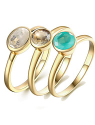 preiswerte -Damen S925 Sterling Silber / 18K vergoldet Ring-Set - 3 Stück Kreisform Europäisch Gold Ring Für Geschenk / Alltag