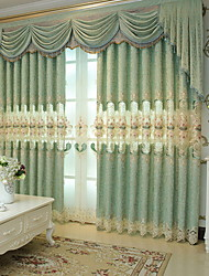 cheap -Curtains Drapes Living Room Floral Geometric Cotton / Polyester Jacquard