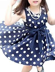 cheap -Girl's Polka Dot Dress Summer Sleeveless Bow White Navy Blue Pink