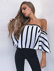 cheap -Women's Cute Street chic Blouse - Striped Black & White, Backless