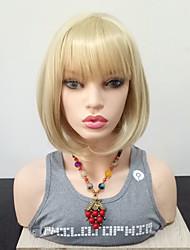 Недорогие -Парики из искусственных волос Прямой Блондинка Стрижка боб Искусственные волосы Жаропрочная / С Bangs Блондинка Парик Жен. Средняя длина Без шапочки-основы Блондинка / Да