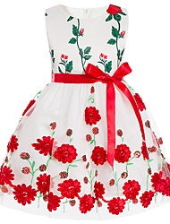 cheap -Girl's Party Going out Floral Dress, Cotton Polyester Spring Summer Sleeveless Vintage Cute Green Red