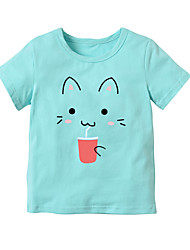 baratos -Para Meninas Diário Escola Listrado Estampado Camiseta, Algodão Raiom Verão Manga Curta Fofo Activo Preto Vermelho Rosa Arco-íris Azul
