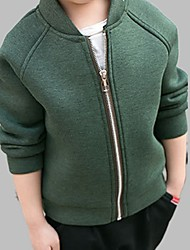 cheap -Boys' Daily Solid Colored Jacket & Coat, Cotton Spring Fall Long Sleeves Active Green Black