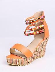 abordables -Femme Chaussures Similicuir Eté Confort Sandales Hauteur de semelle compensée Bout ouvert Orange / Bleu / Rose / Soirée & Evénement