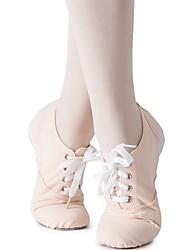 Недорогие -Девочки Обувь для джаза Полотно Кроссовки На плоской подошве Персонализируемая Танцевальная обувь Миндальный / В помещении