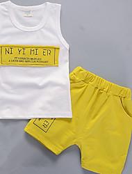 abordables -Garçon Quotidien Imprimé Ensemble de Vêtements, Polyester Eté Sans Manches Mignon Vert Jaune