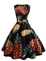 abordables -Mujer Chic de Calle Boho Corte Bodycon Corte Swing Vestido - Estampado, Fruta Hasta la Rodilla