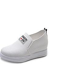 baratos -Mulheres Sapatos Camurça Verão Conforto Rasos Caminhada Salto Robusto Ponta Redonda Cadarço Branco / Preto