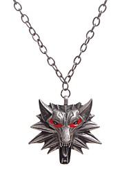 preiswerte -Anhängerketten - Tier, Wolf Silber, Rot 45 cm Modische Halsketten Für Alltag, Klub