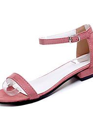 baratos -Mulheres Sapatos Couro Ecológico Primavera Conforto Sandálias Salto Baixo para Preto Vermelho Rosa claro