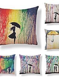 baratos -6 pçs Téxtil Algodão/Linho Cobertura de Almofada, Art Deco Design Especial Pintura à Óleo Estilo Artístico Alta qualidade