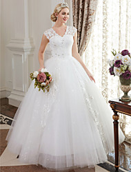 cheap -Ball Gown V Neck Floor Length Satin Lace Over Tulle Custom Wedding Dresses with Crystal Sequin by LAN TING BRIDE®