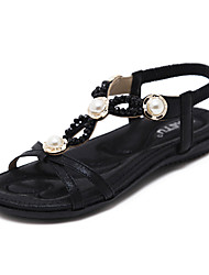 cheap -Women's Shoes Synthetic Microfiber PU Spring / Summer Novelty Sandals Flat Heel Round Toe Beading / Pearl Gold / Black / Dark Blue