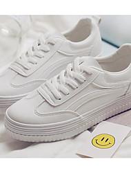 baratos -Mulheres Sapatos Micofibra Sintética PU Primavera Outono Conforto Tênis Salto Baixo para Casual Branco Rosa e Branco Branco/Preto
