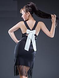 Недорогие -Латино Платья Жен. Выступление Ice Silk (искусственное волокно) Бант(ы) С кисточками Без рукавов Платье